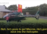 햄버거 픽업? 맥도날드 매장에 착륙한 헬리콥터