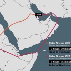 단교 이후 실제 항공기 항로가 이렇게 바뀌었다고 합니다. 사우디아라비아 영공을 피해야 하므로 브라질 가...