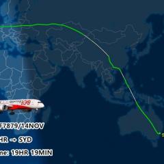 콴타스항공, 17000킬로미터 초장거리 비행 날았다
